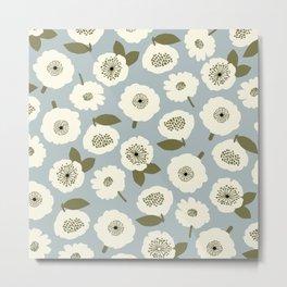 Floating Flowers Grey Metal Print