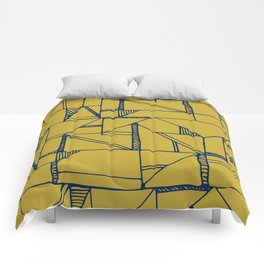 Bauhaus Blue and Yellow Comforters