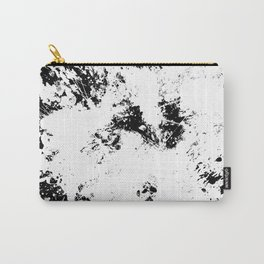 Spilt White Textured Black And White Abstract Painting Carry-All Pouch