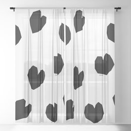 Love Yourself no.2 - black heart pattern love minimal black and white illustration Sheer Curtain