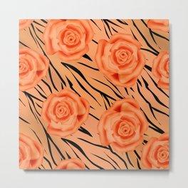 Orange roses on tiger pattern . Metal Print