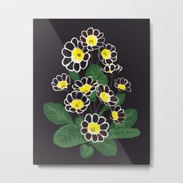 Floral pattern in dark colors. Primula Metal Print