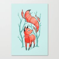 freeminds Canvas Prints featuring Winter Fox by Freeminds