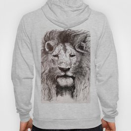 Lion Drawing Illustration Ink Black and White Hoody