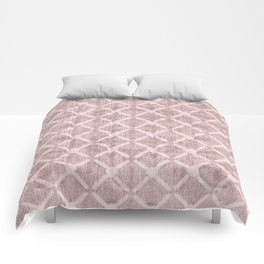 Faux Velvet Dusty Pink and Cream Lattice Pattern Comforters