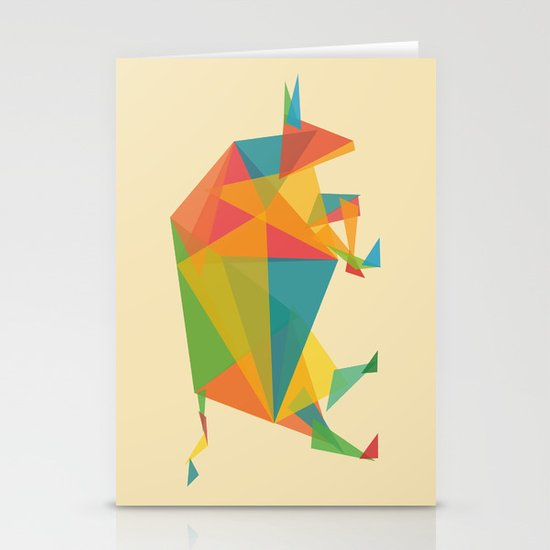 Fractal Geometric Bull Stationery Cards