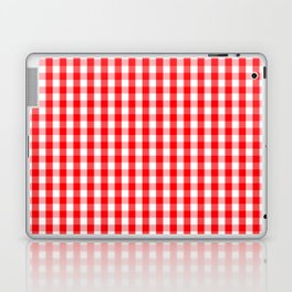 Large Christmas Red and White Gingham Check Plaid Laptop & iPad Skin