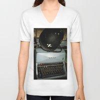 military V-neck T-shirts featuring TYPEWRITER AND MILITARY HELMET by Alejandra Triana Muñoz (Alejandra Sweet