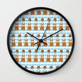 Oktoberfest guy blue and white plaids. Lederhosen in a row. Oktoberfest print. Wall Clock