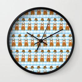 Oktoberfest Lederhosen guy blue and white plaids Wall Clock