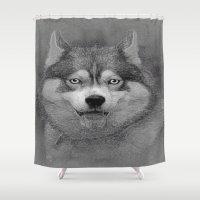 husky Shower Curtains featuring husky  by Doug McRae