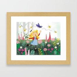 Goldilocks in Flower Garden Framed Art Print
