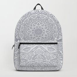 Most Detailed Mandala! Cool Gray White Color Intricate Detail Ethnic Mandalas Zentangle Maze Pattern Backpack