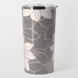 Pink and grey autumn dahlia flowers Travel Mug