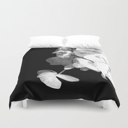 White Orchids Black Background Duvet Cover