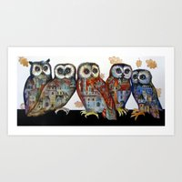 medieval Art Prints featuring medieval owls by oxana zaika