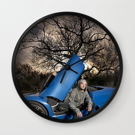 Bam Margera - Eerie tree, Blue ride Wall Clock