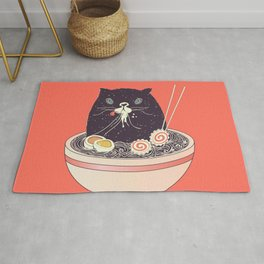 Bowl of ramen and black cat Rug