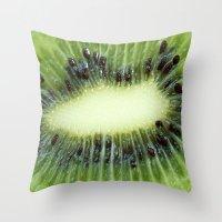 kiwi Throw Pillows featuring Kiwi by ThePhotoGuyDarren