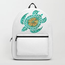 Maui Plumeria Watercolor Turtle Backpack