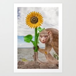 statue monkey Art Print