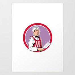 Butcher Holding Meat Cleaver Circle Cartoon Art Print