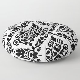 Prima Damask Pattern Black on White Floor Pillow