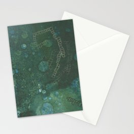 Seafoam: a vibrant and colorful green abstract painting Stationery Cards