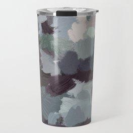 Dark Green Lilac Purple Gray Black Abstract Wall Art, Painting Art, Modern Wall Art Travel Mug