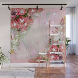 Fuchsia  Protea's with Blush & Gold ribbons Wall Mural
