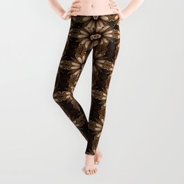 Abstract flower mandala with geometric texture Leggings