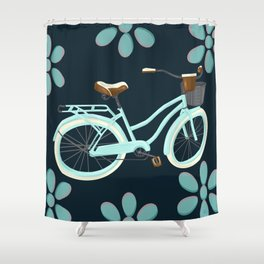 My Bike Floral Shower Curtain