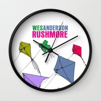 rushmore Wall Clocks featuring Rushmore Movie Poster by FunnyFaceArt