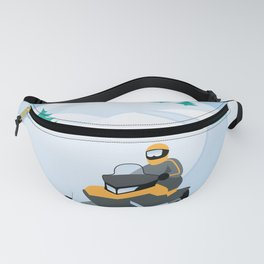 Snowmobiling on a Snowy Winter Day Fanny Pack