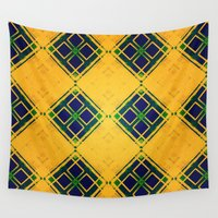 yellow pattern Wall Tapestries featuring Yellow by Raluca Ag