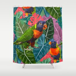 Parrots and Tropical Leaves Shower Curtain