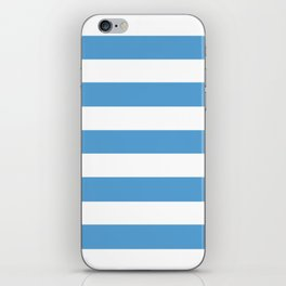 Carolina blue - solid color - white stripes pattern iPhone Skin