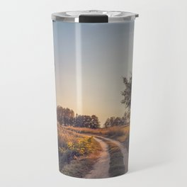 Country dirt road in Lomellina at sunset Travel Mug