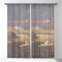 Tiny White House Sheer Curtain