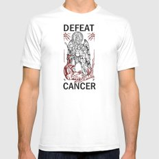 Defeat Cancer (Michael and the Dragon) MEDIUM White Mens Fitted Tee