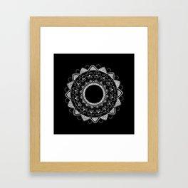 Precious white mandala on black Framed Art Print