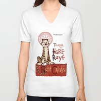 hobbes V-neck T-shirts featuring Le Tigre Rayé by Arinesart