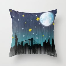 Starry Night Over Manhattan Throw Pillow