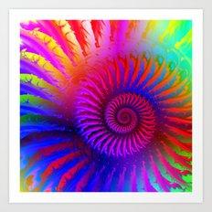 Rainbow Psychedelic Hippie Fractal Art Art Print
