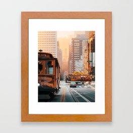 California Street Cable Cars Sunrise Bay Bridge Framed Art Print