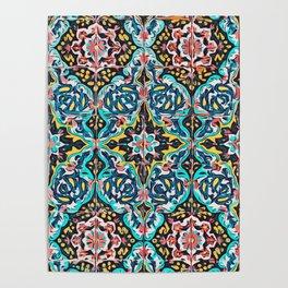 Traditional ceramic tile design Portugal Terrazzo Blobs Poster