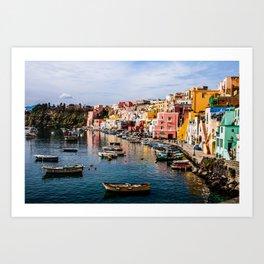 Colors of Procida Fishing Port Art Print