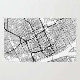 Detroit Map White Rug