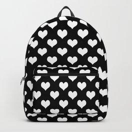 Black & White Hearts Pattern Backpack