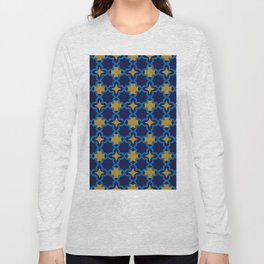 Moroccan seamless pattern, Morocco. Patchwork mosaic with traditional folk geometric ornament Long Sleeve T-shirt